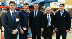 Danbro Wilf Rhodes, left, and other apprentices meet the PM